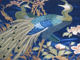 Antique Japanese Silk Hand Embroidered Peacock Panel - Silk & Gold Work photo