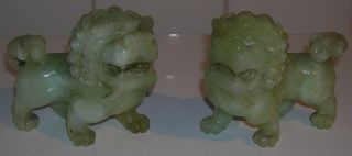 Pair Antique Chinese Carved Jade Foo Dogs Temple Lion Figures photo