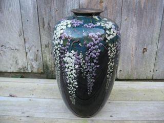 Fine Asian Antique Japanese Cloisonne Floral Vase Ovide Shape With Lamp Parts photo