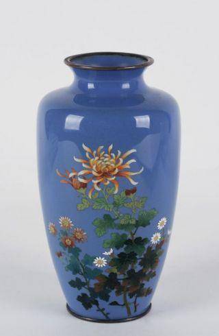 Japanese Cloisonne Vase By Hayashi Kihyoe / Meji - Silver Wire & Mounts / No.  2 photo