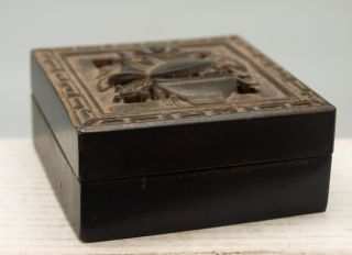 Oriental Chinese Black Square Box Containing Red Carved Seal / Chop / Stamp photo