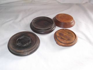 4 Vintage Wooden Chinese Vase Stands photo