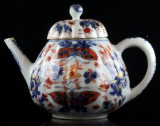 Perfect Lobbed Chinese Porcelain Cov.  Teapot Butterfly 18th Century.  3 photo