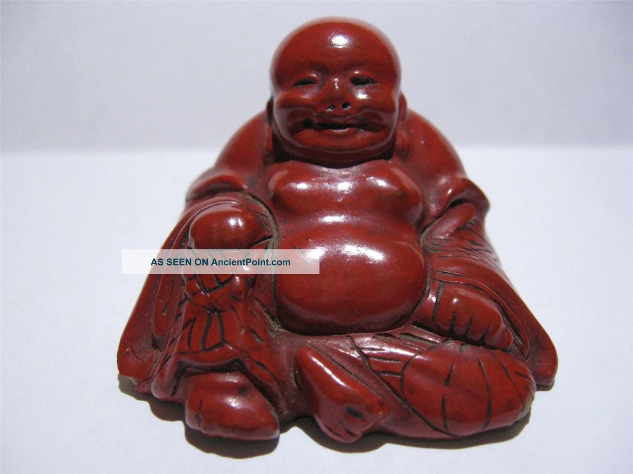 Antique Chinese Carved Cinnabar Hotei Happy Fat Buddha Statue Nr Buddha photo