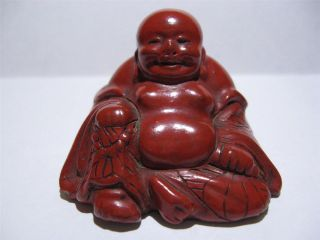 Antique Chinese Carved Cinnabar Hotei Happy Fat Buddha Statue Nr photo