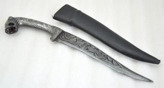 Antique Repro Hand Crafted Engraved Tiger Damascus Steel Blade Dagger Knife photo