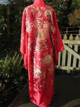 Sumptuous Antique Silk Satin Kimono - Profusely & Heavily Hand Embroidered - Wow photo