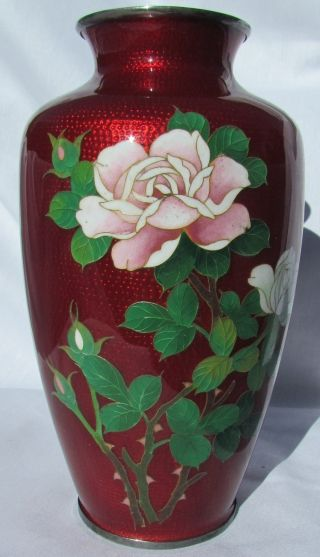 Ando Cloisonné Vase Roses On Front Birds On Back photo