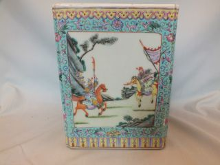 Chinese Porcelain Square Jardiniere With Panels Of Figures 20thc photo
