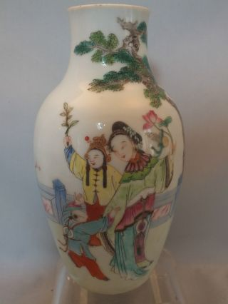 Chinese Porcelain Vase Decorated With Figures In A Garden 19thc photo