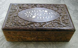 Vintage Indian Hand Carved Inlaid Wooden Felt Lined Trinket/jewellery Box photo