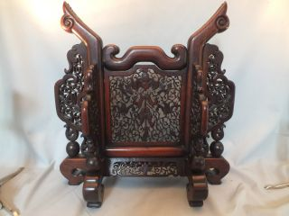 Carved Chinese Wood Stand For A Mirror Or Circular Plaque Late19/e20thc photo