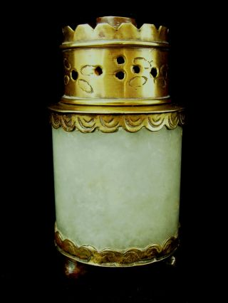 Antique Chinese Opium War Jade Jadeite Bronze Oil Lamp 19th Century photo