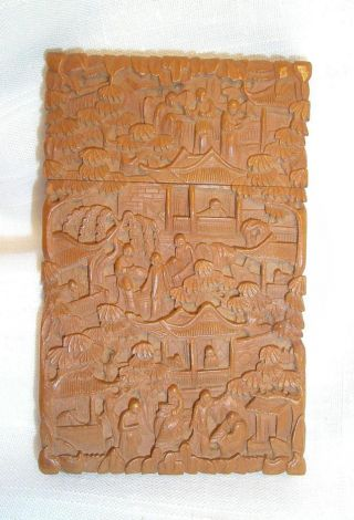 Antique 19th C.  Chinese Wood Carved Card Case photo
