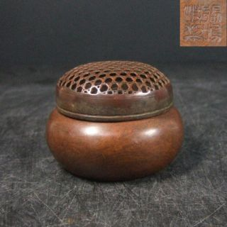 F771: Chinese Quality Copper Ware Incense Burner With Sign. photo