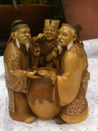 Old Japanese Statue Okimono 3 Sake Tasters Unique Xt Fine Perfect Mark To Basenr photo