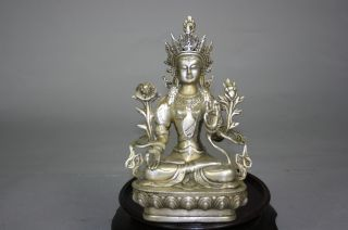 Mid - Qing Dynasty Gilt Bronze Avalokitesvara Sculpture photo