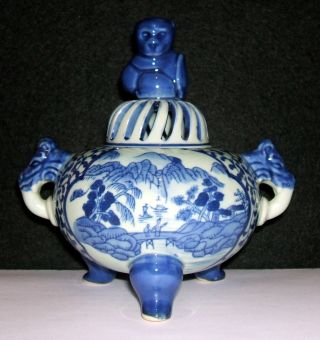 Chinese Blue And White Celadon Tripod Censer Incense Burner Qianlong Mark photo