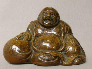 Antique Japanese 19th Century Bizen Buddha Hotei Figure photo