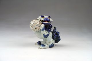 Rare Antique Japanese Hirado Kutani Porcelain Foo Dog Shishi With Flaming Pearl photo