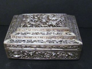Antique Chinese Export Silver Box W/great Dragon & Phoenix Detail.  Late 19th Cent photo