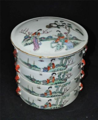 Chinese Porcelain Food Box With Figures photo