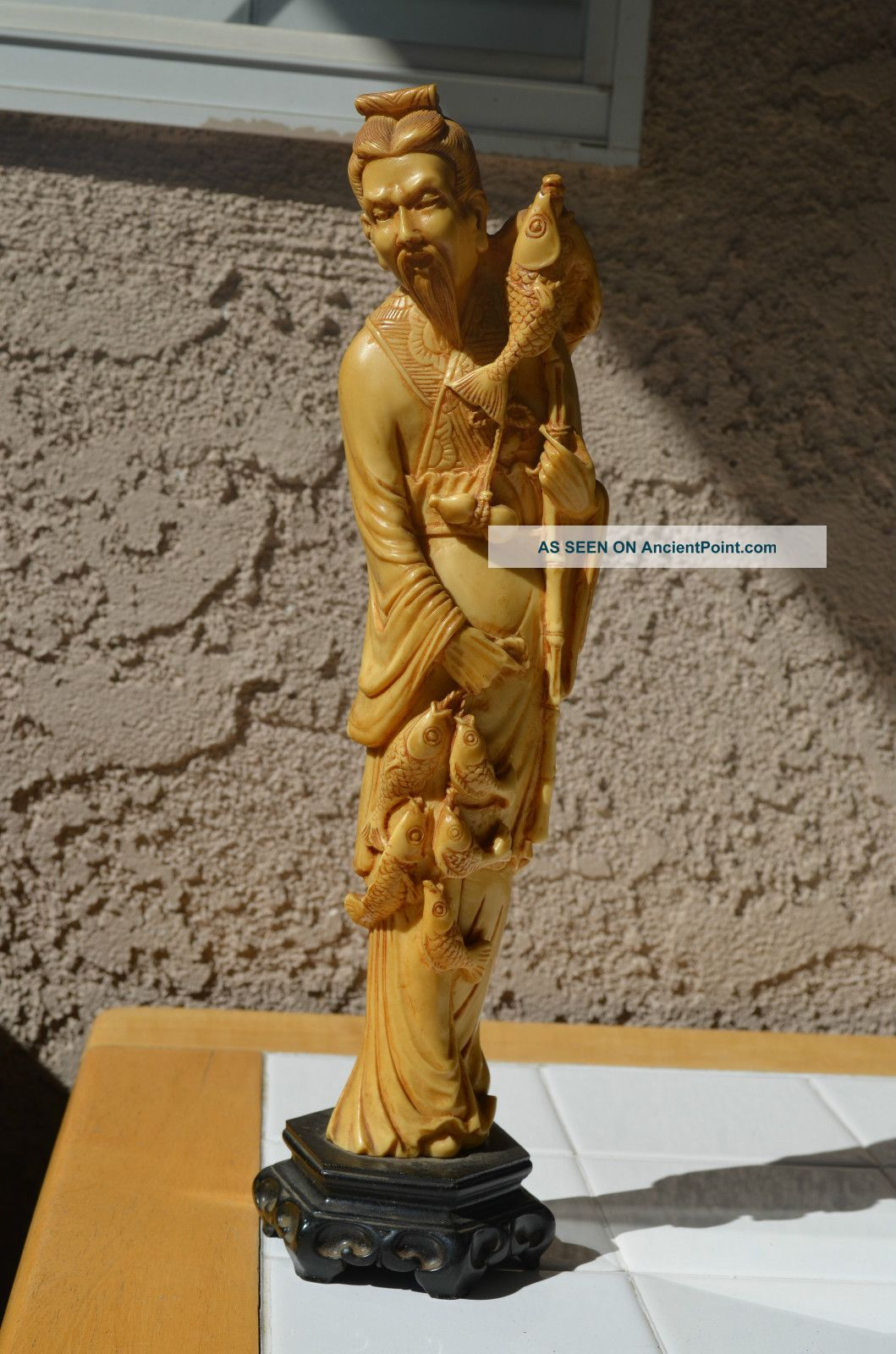 Chinese Statue Antique Ox Bone Carved Old Fisherman Figure 13 Inch
