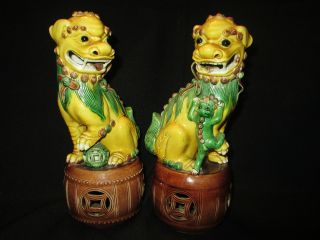 (2) Pr.  Antique Chinese Porcelain Sancai Foo Dog Figure Statue photo