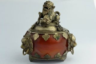 China Collectibles Old Decorated Wonderful Handwork Jade Kylin Incense Burner photo
