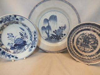 3 Chinese Porcelain Blue & White Plates 18thc photo