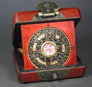 Chinese Old Wood Handwork Painting Dragon Compass And Box photo