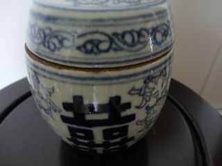 Old Chinese Blue & White Porcelain Pot With Characters