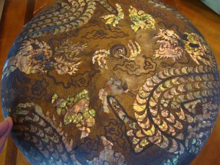 18th Century Huge Chinese Lacquer Mother Of Pearl Dragons Dowry Box photo