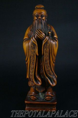 Old Chinese 18/19th C.  Boxwood Carving Statue/sculpture Intellectual photo