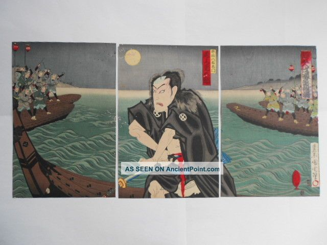 Japanese Triptych Prints by Kunichika Toyohara Prints photo