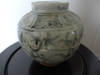 Old Chinese Blue & White Porcelain Pot photo