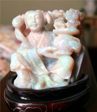 Antique Chinese Carved Opal Figure Of Woman With Urn Of Flowers On Stand photo