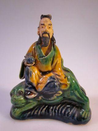 Antique Chinese Mudmen Figure - Scholar On Foo Dog - Shekwan - Shiwan - Clay Mudman photo