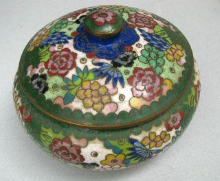 Chinese Cloisonne Enamel Lidded Bowl Box Red Marked China photo