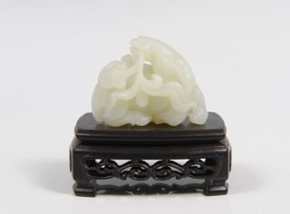 Antique Chinese Carved White Jade Horse Figure Statue Wood Stand photo