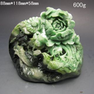 100% Natural Dushan Jade Hand - Carved Statue - - Phoenix & Peony Nr/pc2390 photo