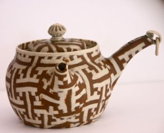 Rare Antique Banko Ware Japanese Teapot Kyusu Impressed Mark Woven Clay Pattern photo