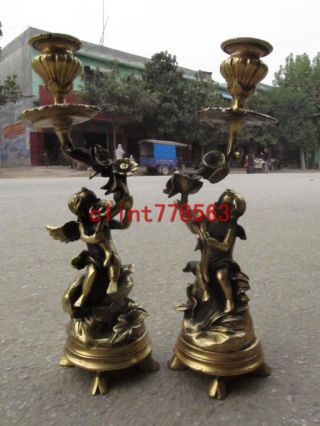 Chinese Folk Personal Collection West Angel Brass Candle Stick Statues 38 photo