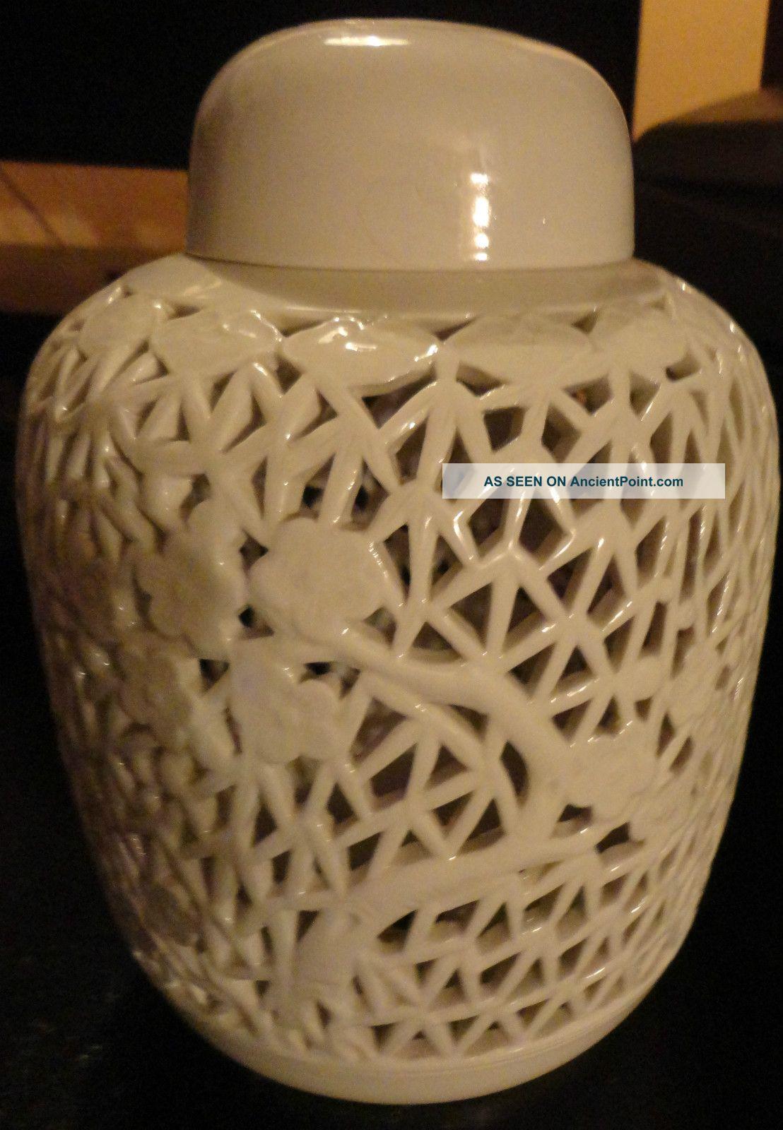 Antique Chinese Fine Porcelain Large Covered Vase - Unique 8 1/2 Inches (vase 1) Vases photo
