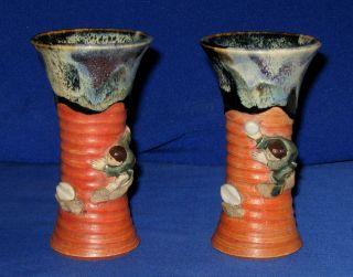 Antique Pair Japanese Meiji Sumida - Gawa Figural Baluster Vases C.  1900 ' S photo