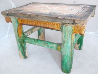 Unusual Antique Chinese Shiwan Glazed Pottery Figural Table Or Stand (repaired) photo