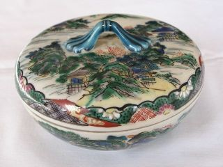Japanese Round Kutani Box With Landscape 1920s Taisho Era Handpainted Nr 1167 photo