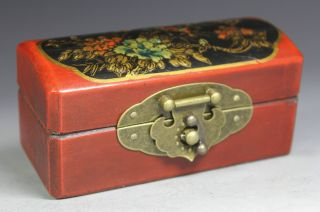 Chinese Old Wood Handwork Painting Flower Jewel Box photo