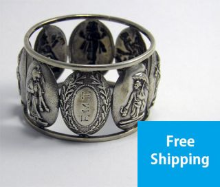 Good Antique Late 19th Century Indian Silver Figural Panel Napkin Ring photo