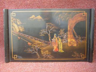 Chinese Lacquered Table Removable Tray On Folding Wood Base Very Good Condition photo